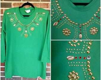 Bright Crayon Green Embellished Long Flowy Sweatshirt Tee, XL