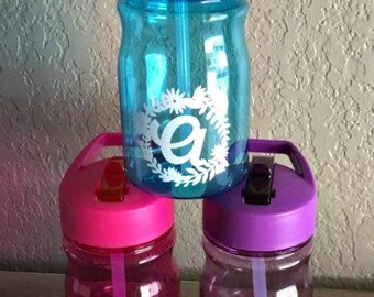 Floral Monogrammed Personalized Kids Water Bottle