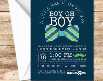 Little Man Baby Shower invitation, Baby Boy Shower invite, Baby Shower, Little Man, Bow Tie Baby Shower Invitation, Mustache Invite