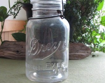 Drey Mason Jar Improved Ever Seal Wire Closure Canning or Fruit Jar