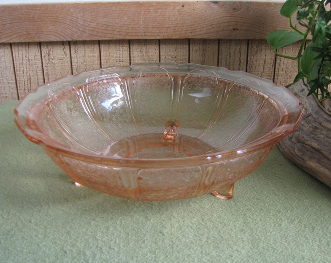 Pink Depression Glass Bowl Jeanette Glass 1930 to 1939 Cherry Blossom Pattern