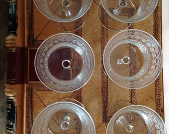1930s  Champagne Glasses - Set of 6 - Etched Glass - Home Decor - Collectible Vintage