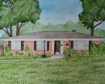 Customized Original Watercolor Painting of Home