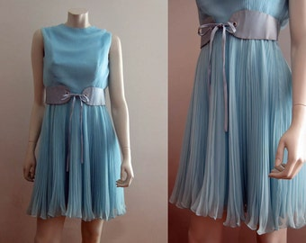 Vintage 1960s Dress / 60s Mini Dress / Light Blue Chiffon Dress / SMALL