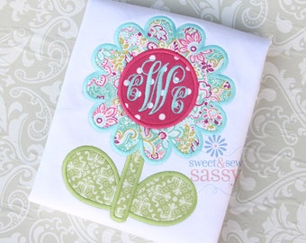 Girls Flower Applique Shirt - Easter - Spring - Garden - Mongoram - Personalized