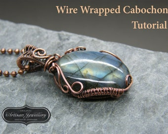 Wire wrapped pendant tutorial ~ Cabochon setting ~ Jewelry kit ~ Wire wrap tutorial ~ Instructions ~ PDF ~ Instant download ~ Jewelry making