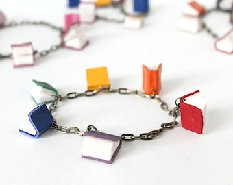 Mini Book Bracelets in Limited Edition Colors, Chain with Tiny Leather Books, Handmade Book Jewelry, Gift for a Librarian or Book Lover