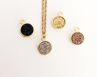 """16"""" Gold Vermeil Chain Necklace with 8mm Round Druzy Stone - Multi Colors Available"""