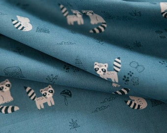 Raccoon Pattern Cotton Fabric by Yard - 2 Colors Selection
