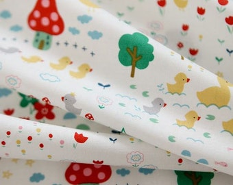 Cute Duck Pattern Cotton Fabric by Yard (White)