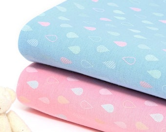 Raindrops Cotton Knit Fabric Width 150cm (59 Inch) by Yard - 2 Colors Selection