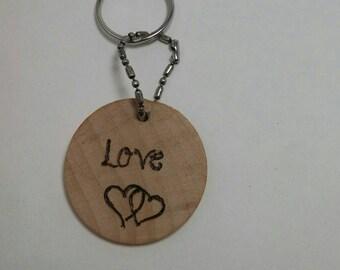 Hand burned love keychain