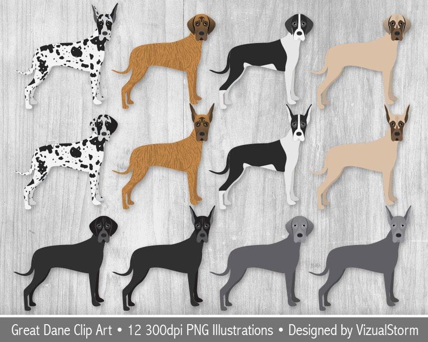 Great Dane Clipart Digital Great Danes Dog Breed