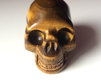 Tiger eye skull 2 inch carving