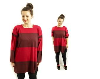 Marimekko Dress, Tunic dress, Vintage MARIMEKKO, Mini dress, Red dress, Marimekko tunic dress, Striped dress, Long sleeve dress /  XL Large