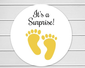 "It's A Surprise - 126 Stickers - 1"", Surprise Baby Shower Stickers, Birth Announcement Stickers (#519-YL)"