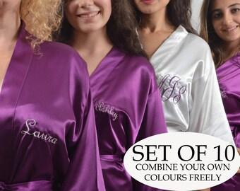 Custom bridesmaid robes set of 10 robe. Personalized Bridesmaid robe. Embroidered Satin robe. Robe for bridesmaid. Bridal party robe!