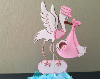 Stork Centerpiece, Stork Baby Shower Decoration, Diaper Cake Topper, Cake topper