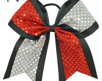 Red and Silver Cheer Bow  ~ Sequin hair bow ~  Cheer Bow, Varsity Cheerleading Ponytail Bow