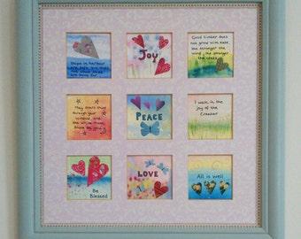 Joy, peace, love. Original framed collage.