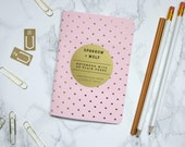 Travel Diary Journal Rose Quartz Pastel Pink & Rose Gold A6 Polka Dot Pocket Notebook A6 Metallic Shiny Cherished Gold Cute Sketchbook