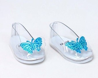 Clear Butterfly Cinderella Slippers Ballet Flats for Doll, 18 inch doll accessories, Cinderella toys