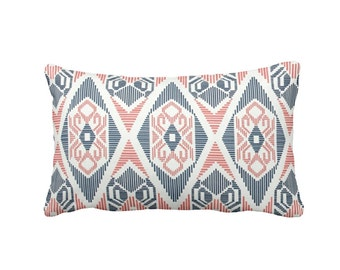 Navy Pillow Cover Coral Pillow Cover Navy Throw Pillow Cover Coral Throw Pillow Cover Lumbar Pillow Oblong Pillow Tribal Pillow Tribal Decor