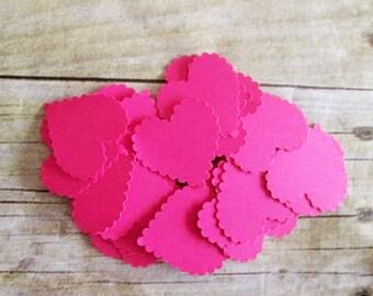 50 Bright Pink Confetti Die Cut Wedding Hearts Shower, Birthday confetti, Valentines die cut confetti, heart cut outs, table decorations