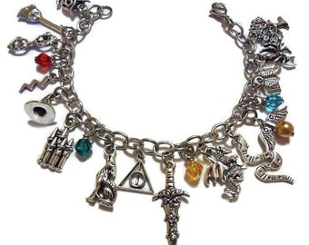 Harry Potter Inspired Charm Bracelet, Fashion Jewelry for Fans