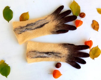 Felted gloves with fingers Fall accessories Beige Felted mittens Merino wool gloves Cat Arm warmers Christmas Gifts under 50 Gift f her