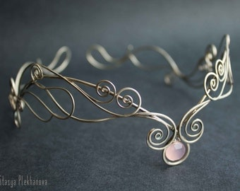 Elven tiara, Rose tiara, Chalcedony tiara, Silver tiara, Elven diadem, Wire wrapped tiara