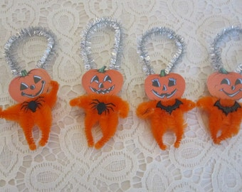 Miniature Bump Chenille Pumpkin Halloween Ornaments