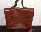 Vintage Satchel Messenger Brown Leather Bag