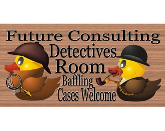 Child Wood Signs - Handmade wood sign Detective GS 740 Rubber Ducky wood sign, Children wood sign primitive, Childs room sign