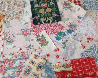 Scrap bundle vintage & new Fabric French English for projects patchwork appliqué card marking
