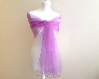 Scarf - Purple Organza - wedding, ceremony, marriage, cocktail...