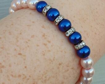 Light pink and Royal Blue Bracelet, Wedding Bracelet, Bridesmaid Bracelet