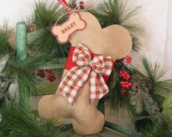 Burlap Christmas Dog Stocking with Red & Tan Plaid Bow~Monogrammed Tag Included~Puppy's First Christmas~Dog Bone Stocking~Personalized~