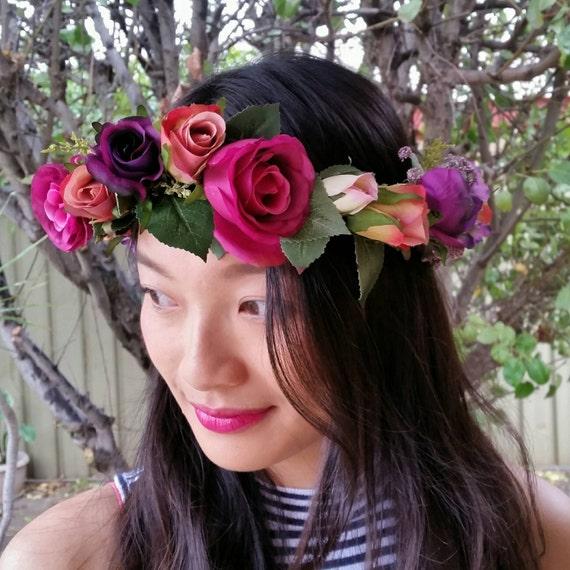 Flower Crown Purple: PINK Purple Red Flower Crown Wedding By AdelaideFlowerMill