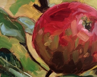 APPLE A DAY small original apple oil painting by Jean Delaney size 6 x 6 inch on gessobord