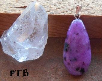 """Shamanic Journey ~ Authentic Purple Kiwi Jasper Gemstone Pendant 1 1/2"""""""
