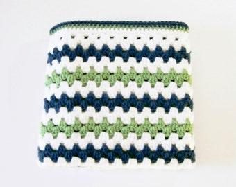 Baby Boy Afghan, Crocheted Baby Blanket, Blue and Green Afghan, Toddler Blanket