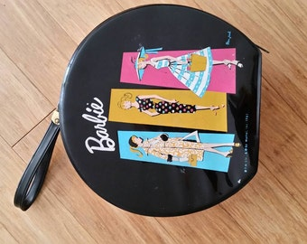 Vintage Barbie doll carry case round 1960s black with handle very cool rare hard to find