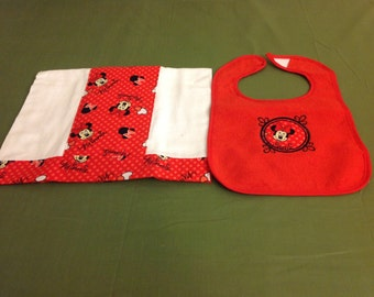 Diaper Burp Cloth w/matching bib