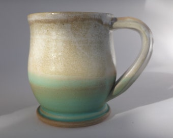 Cream & Green Ombre Pottery Mug