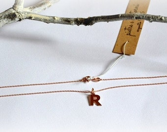 925 Silver necklace rose gold plated with initial choice.