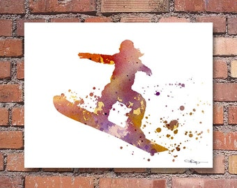 Snowboarder Art Print - Abstract Watercolor Painting - Wall Decor