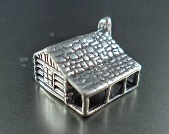 STERLING SILVER 3D Log Cabin Charm for Charm Bracelet