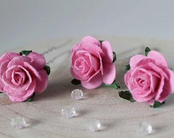 Pink Rose Hair Pins, Pink Wedding Hair Pins, Bridal Hair Accessories, Bridesmaid Hair Pins, Boho Wedding Hair Pins