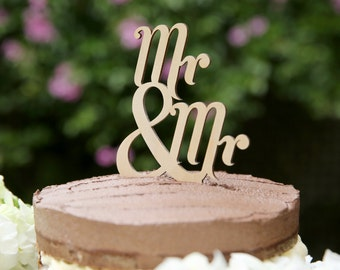 Mr and Mr Wooden Cake Topper Traditional   Gay Cake Topper